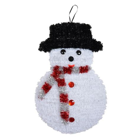 large tinsel christmas wall plaque decoration snowman