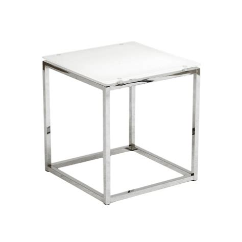 white and glass side table chrome glass side table brickell collection modern furniture