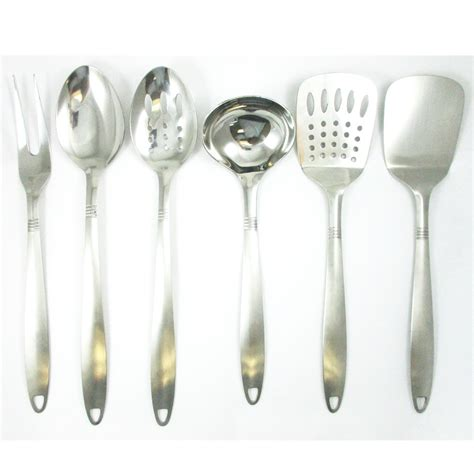 6 stainless steel kitchen cooking utensil set serving