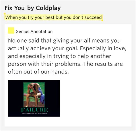 coldplay when you try your best when you try your best but you don t succeed fix you by