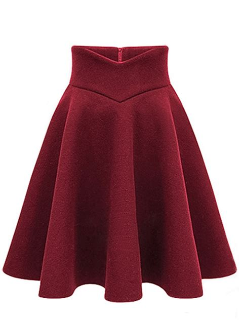 plain woolen flared midi skirt fashionmia
