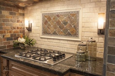 modern yet rustic this hearth style backsplash features