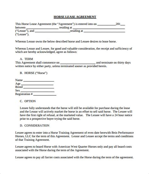 free printable horse lease agreement search results for biography report templates calendar
