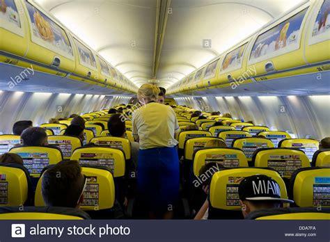 ryanair cabin cabin of a ryanair airbus 320 aircraft stock photo