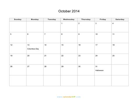 printable monthly calendar october 2014 october 2014 calendar blank printable calendar template