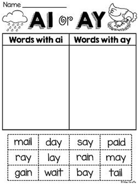 ai vowel pattern worksheets ai ay worksheets and activities no prep activities