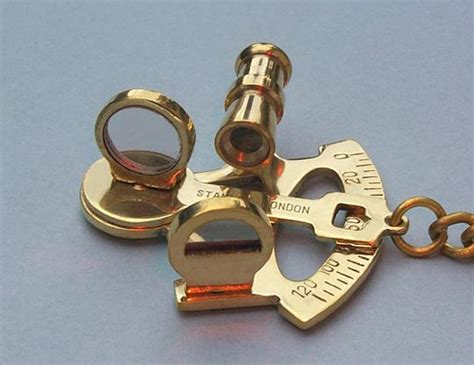 sextant keychain solid brass sextant key chain from the brass compass