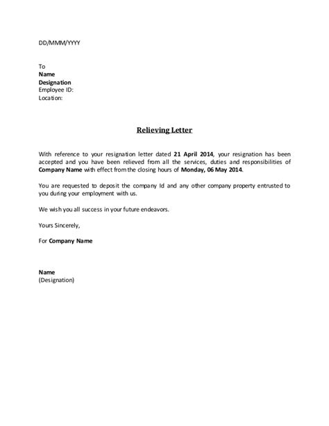 relieving letter format places to 28 images relieving experience letter pdf relieving