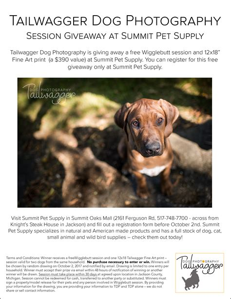 Pet Supplies Sweepstakes - giveaway at summit pet supply tailwagger dog photography