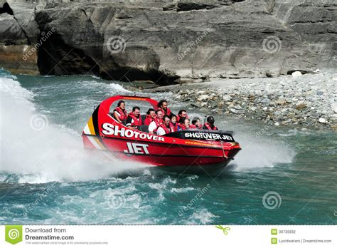 speed boat new zealand jet boat in queenstown new zealand editorial photography
