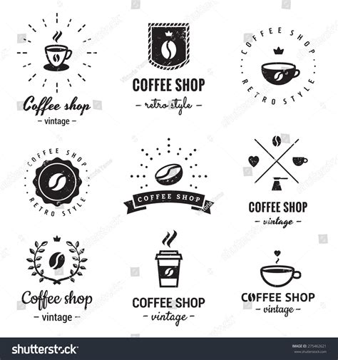 hipster coffee shop design coffee shop logo vintage vector set stock vector 275462621