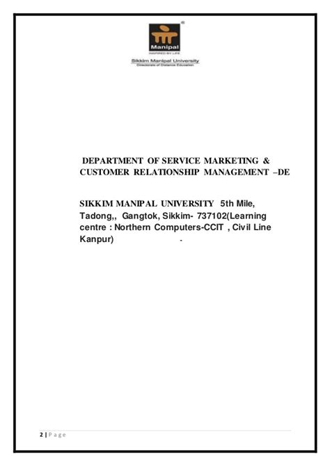 Customer Relationship Management Mba Project Report by Mba Project