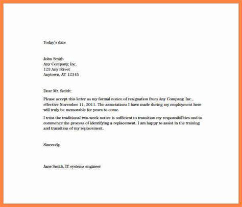 Resignation Letter With Explanation by 9 Resignation Letter 2 Week Notice Pdf Notice Letter