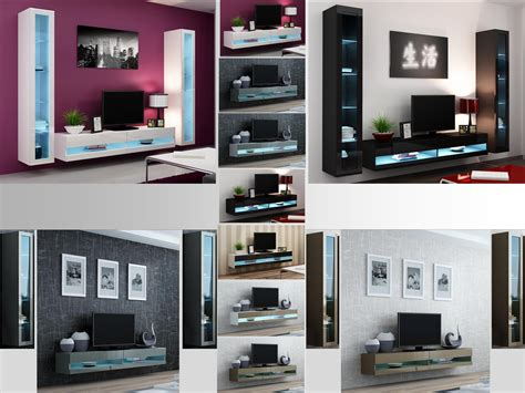 High Tv Stands Living Room High Gloss Living Room Set With Led Lights Tv Stand Wall