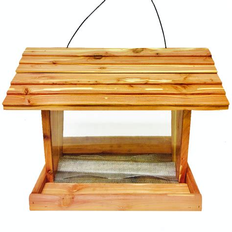 shop homegrown cedar wood hopper bird feeder at lowes com