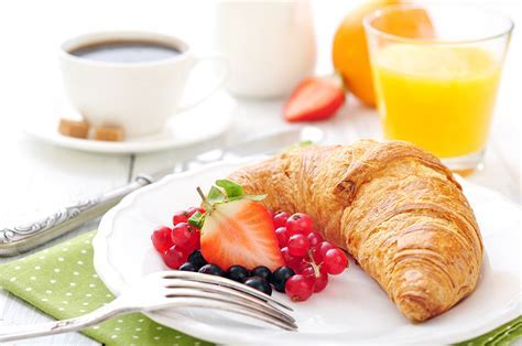 Images Breakfast Croissant Strawberry Fork Food Plate