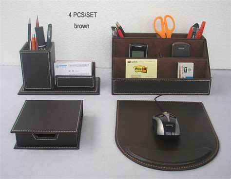 Office Desk Organizer Sets 4pcs Set Leather Office Desk Organizer Accessories Box Office Organizer Pen Holder Box Mouse Pad