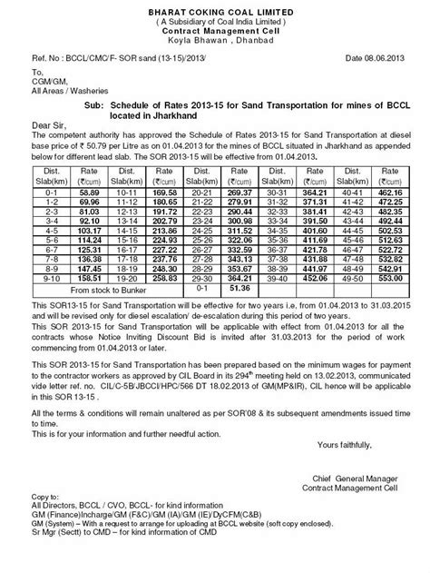 Schedule of Rates 2013-15 for Sand Transportation for