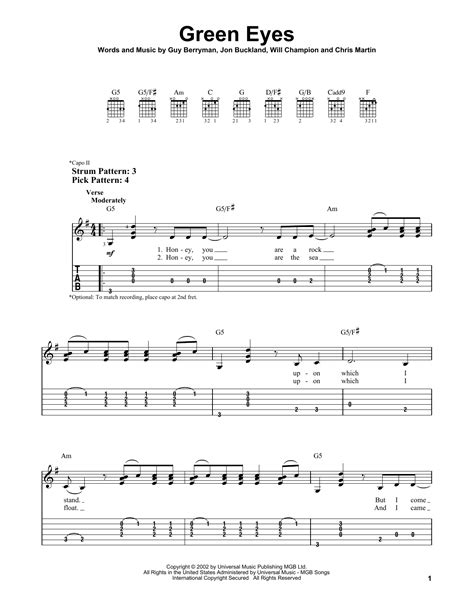 coldplay green eyes chords green eyes by coldplay easy guitar tab guitar instructor