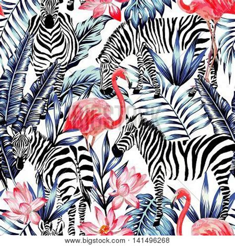 zebra pattern for painting exotic pink flamingo zebra on vector photo bigstock