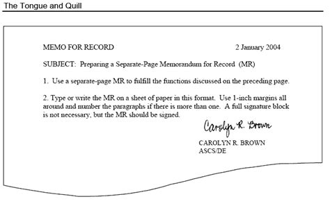 mfr template memo for record