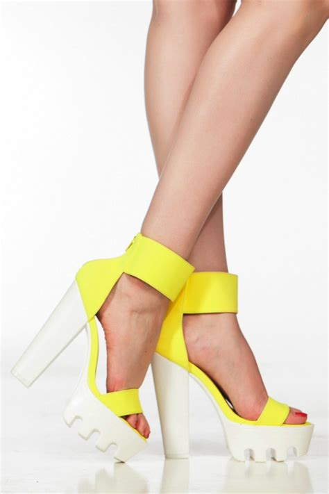 neon yellow faux nubuck ankle lug sole platform heels cicihot heel shoes store