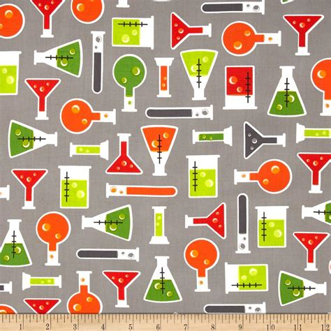 Home Decor Sewing Patterns Science Fair Test Tubes Grey Discount Designer Fabric
