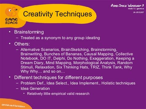 game design techniques creativity techniques in game design