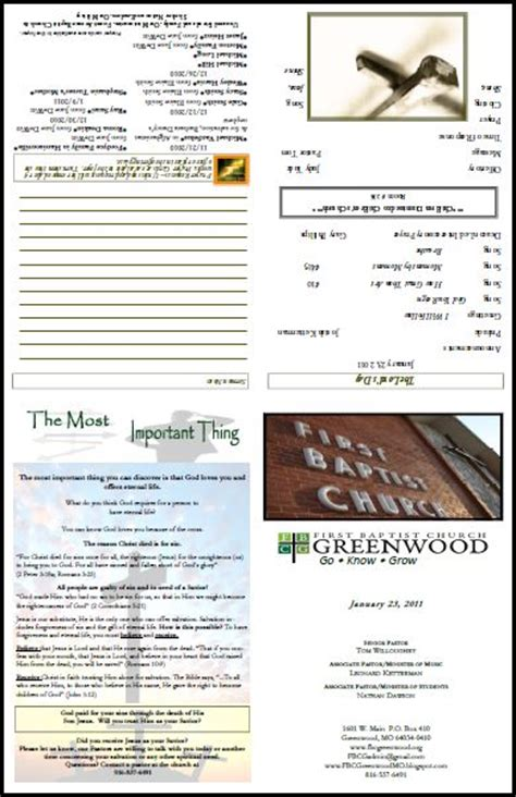 layout for church newsletter free church bulletin layouts greenwood bulletin1 bb