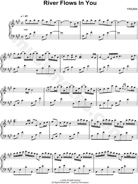 testo lullaby yiruma quot river flows in you quot sheet piano in a