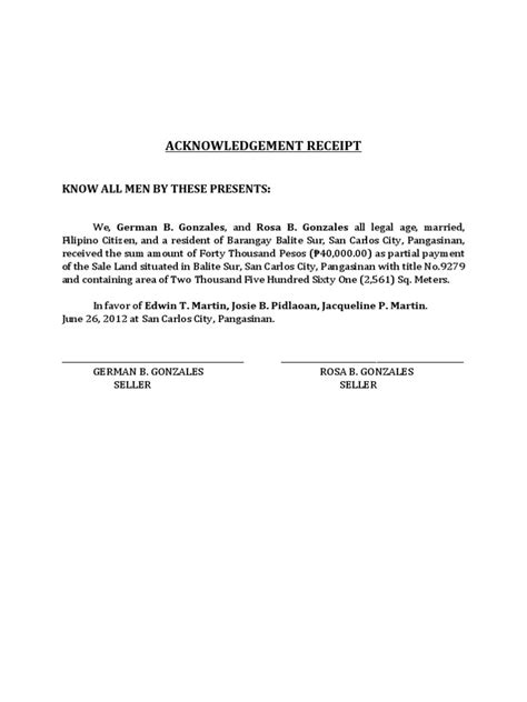 Acknowledgement Letter For Joining Acknowledgement Receipt