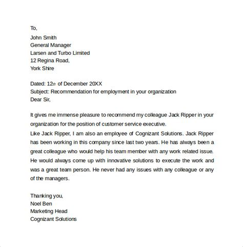 Recommendation Letter For Work Study Sle Recommendation Letter Formats 15 Documents In Word Pdf