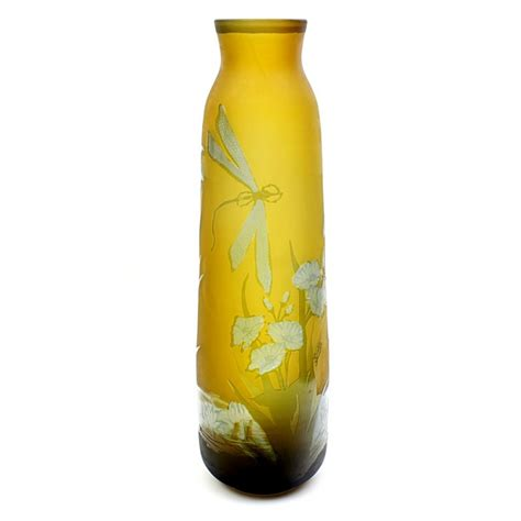 24 Inch Glass Vases by Galle Tip Cameo Glass Vase With Dragonflies 24 Inch