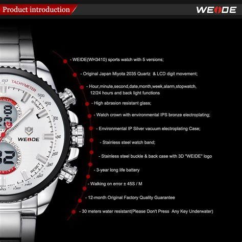 Jam Tangan Weide Japan Stainless Miyota Wh3410 Blackred weide japan quartz stainless miyota sports 30m water resistance wh3410