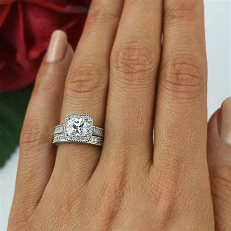 Engraved Engagement Ring Engraved Ring Do by 1 5 Ctw Princess Bridal Set Engagement Ring Halo Wedding