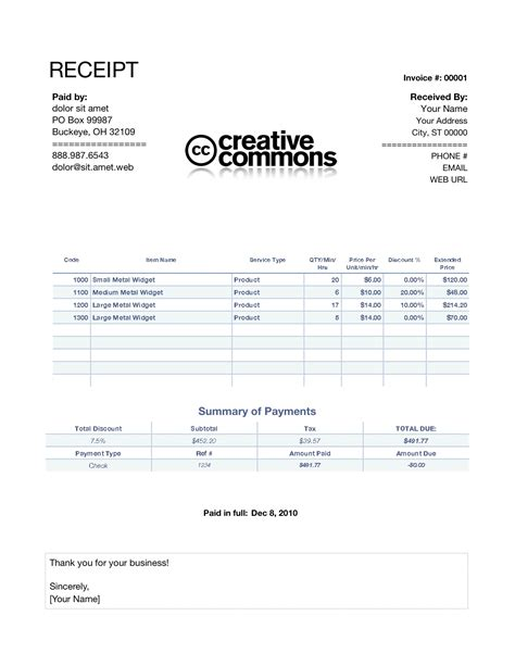 Receipt Or Invoice Template by Invoice Receipt Free Printable Invoice