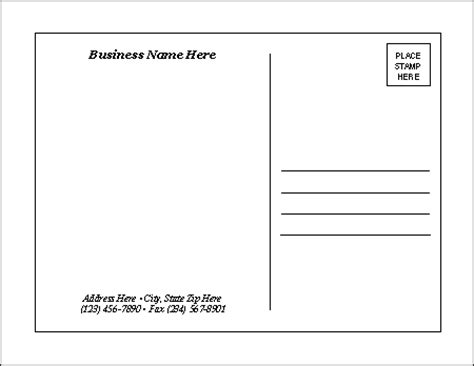 postcard size template word postcard templates
