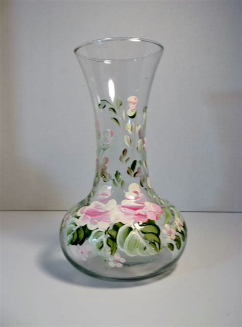 Painted Glass Vases Glass Vase Hand Painted Vase Scandinavian Design Folk Art