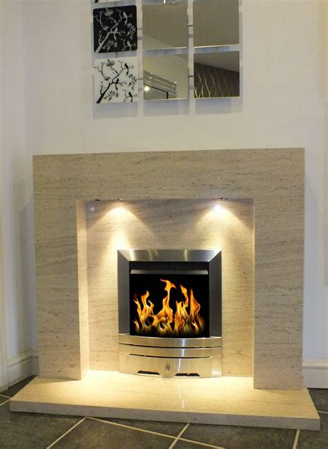estonia polished mocha creme limestone fireplace