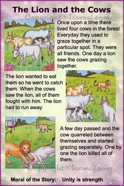 lion biography in english moral stories the lion and the cows kids moral stories
