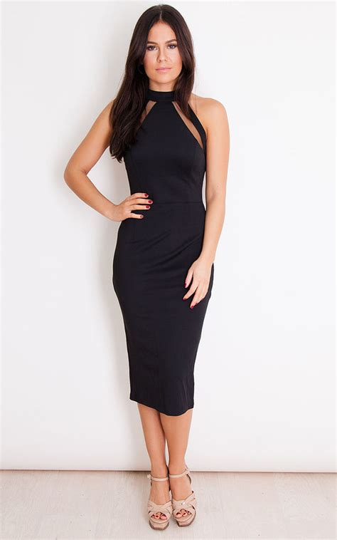 Mesh Panel Midi Dress alesia mesh panel bodycon midi dress black silkfred