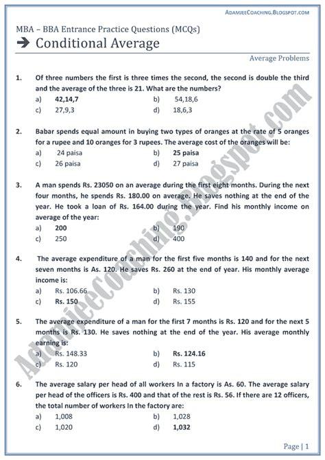 Aptitude Test For Mba Entrance by Adamjee Coaching Conditional Average Aptitude Test