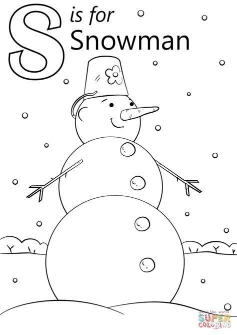 letter s coloring pages letter s is for snowman coloring page free printable