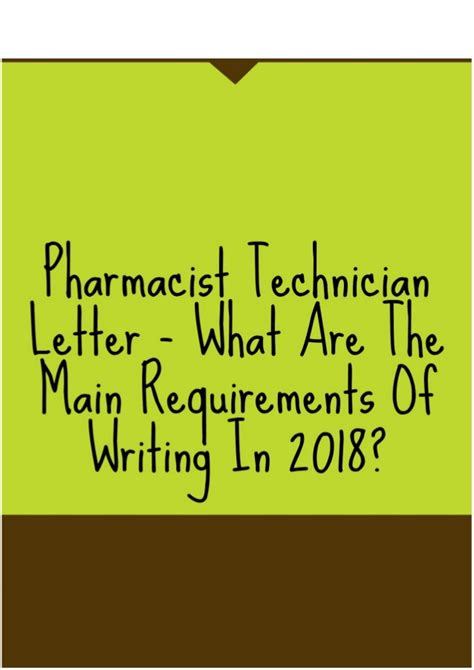 Pharmacist Requirements by Pharmacist Technician Letter What Are The
