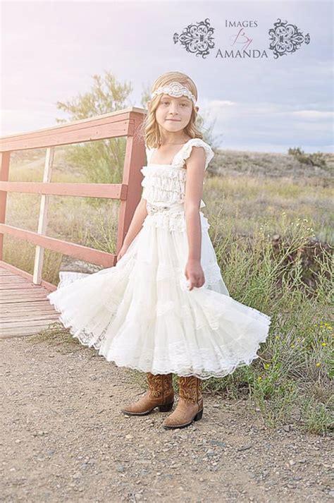 Set Flowery Dress lace flower dress rustic flower dress flower