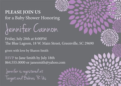 purple baby shower invitation templates lavender baby shower invitations template best template