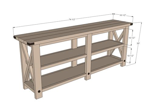 Sofa Table Measurements by White Rustic X Console Diy Projects