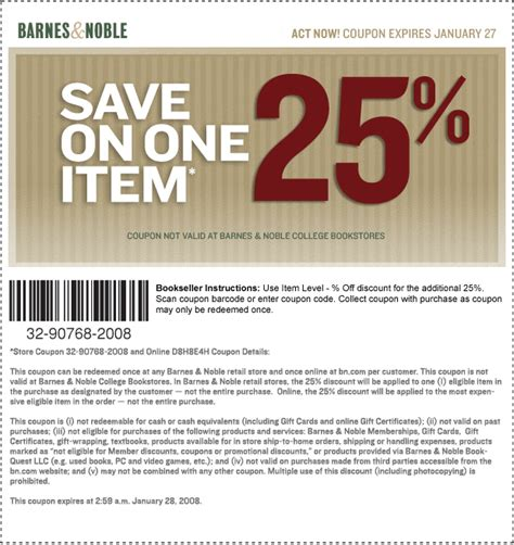 coupons for barnes and noble college bookstore