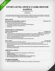 Sample Clerk Resume entry level office clerk resume sample resume genius