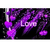 Black Abstract Wallpaper With Purple Love Hearts  HD